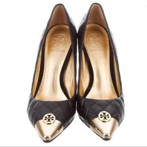 """Tory BurchBlack quilted leather goldtoe 4"""" heel 9"""